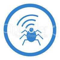 Radio spy bug flat cobalt color rounded vector icon