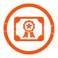 Certificate flat orange color rounded vector icon