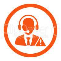 Emergency service flat orange color rounded vector icon