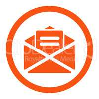 Open mail flat orange color rounded vector icon