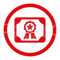 Certificate flat red color rounded vector icon