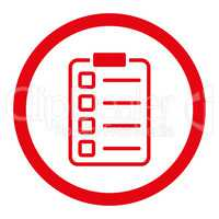 Examination flat red color rounded vector icon