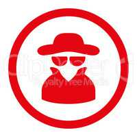 Spy flat red color rounded vector icon