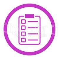 Examination flat violet color rounded vector icon
