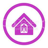 Home flat violet color rounded vector icon