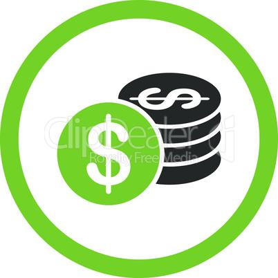Bicolor Eco_Green-Gray--dollar coins.eps