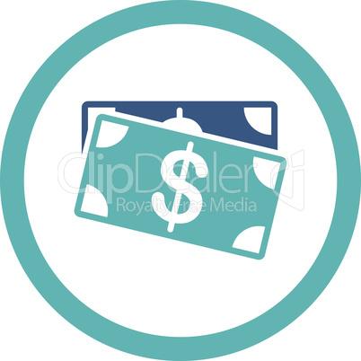 BiColor Cyan-Blue--dollar banknotes.eps