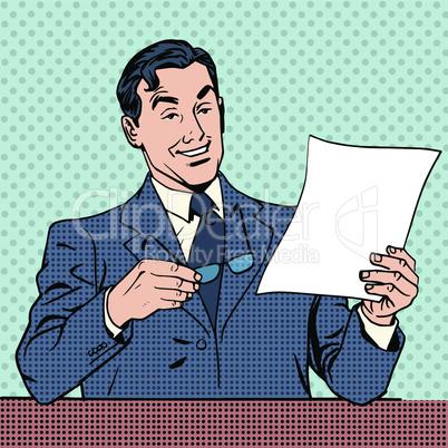 man reads document report businessman scientist