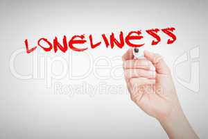 Loneliness against female hand holding black whiteboard marker