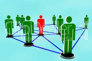 Network with human figures