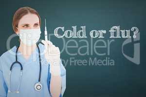 Cold or flu? against chalkboard