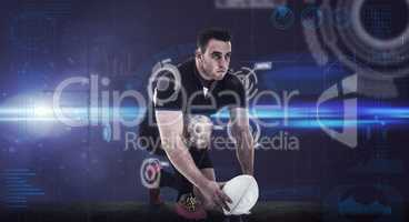 Composite image of rugby player getting ready to kick ball
