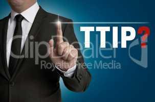 ttip Touchscreen wird von Geschäftsmann bedient Konzept