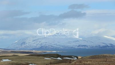 Impressive volcano winter mountain landscape in Iceland