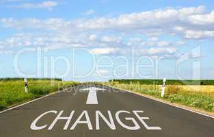 Change - street with arrow and text