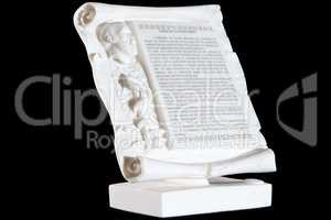Classical white marble Hippocratic Oath isolated on black background