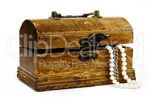 chest with treasures isolated on white