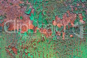 old decayed paint on rust metal