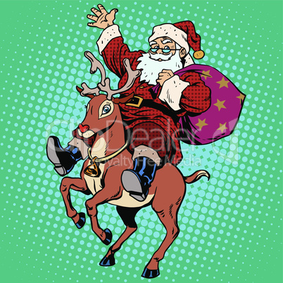 Santa Claus with gifts Christmas reindeer Rudolf