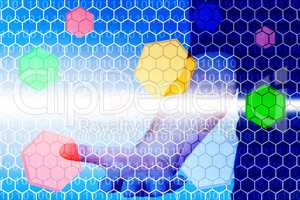Hand behind virtual wall with colored hexagons