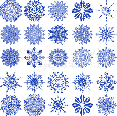 Set of twenty five blue snowflakes