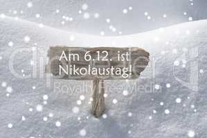 Sign Snowflakes Nikolaustag Means St Nicholas Day