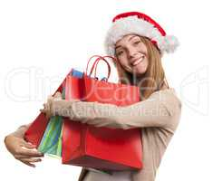 Christmas smiling girl, young woman in santa hat