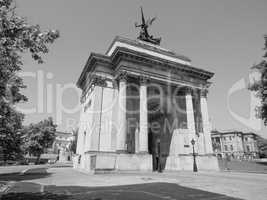 Black and white Wellington arch in London
