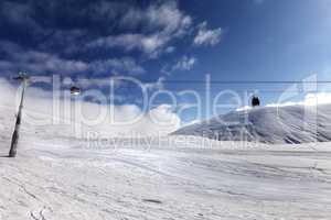 Gondola lift and ski slope
