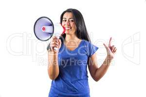 Woman using a megaphone to make her point