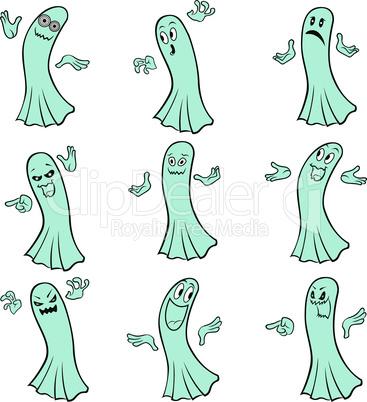 Set of nine blue ghosts