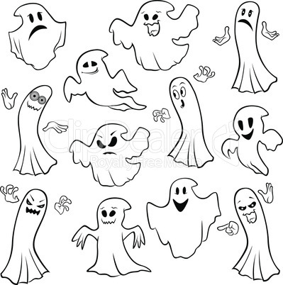 Set of twelve ghost outline