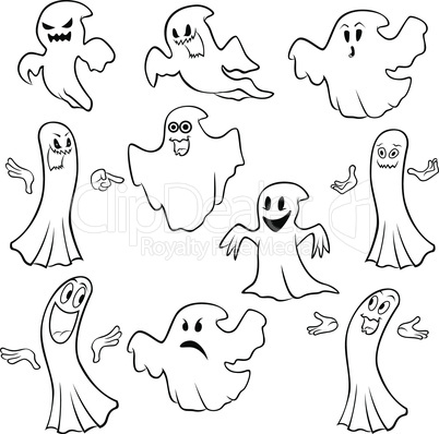 Set of ten ghost outline