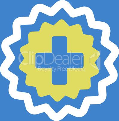 bg-Blue Bicolor Yellow-White--medical cross stamp.eps