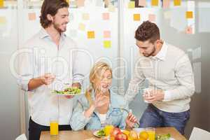 Employees having breakfast