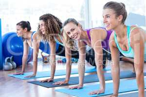 Attractive women doing plank pose in fitness center