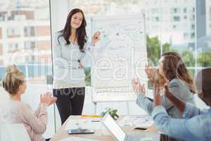 Coworkers clapping for woman after presentation