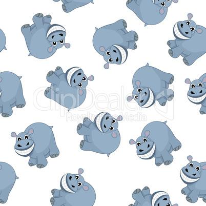 Samless Funny Cartoon Hippo