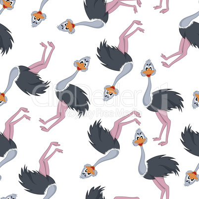 Seamless Funny Cartoon Ostrich