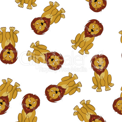 Seamless Funny Cartoon Lion