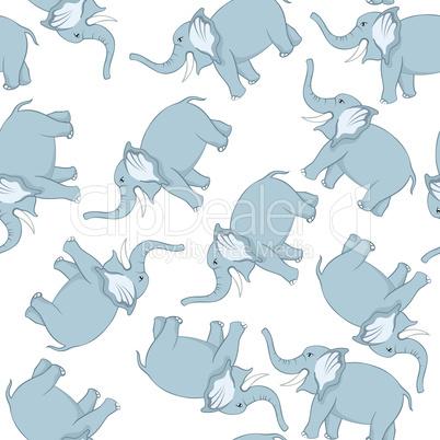 Seamless Funny Cartoon Elephant