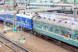 trains on rails moving