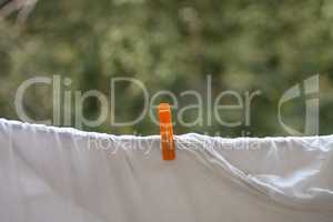 clothespin on white bedsheet