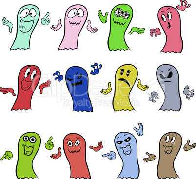 Set of twelve colorful ghosts