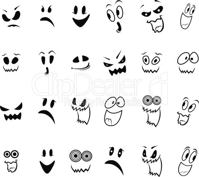 Set of twenty four ghosts faces outline