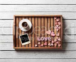 Cute valentine's items on salver