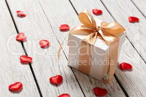 Gift box with small hearts