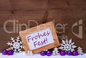 Purple Decoration, Snow, Frohes Fest Mean Merry Christmas
