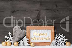 Golden Gray Christmas Decoration, Snow, Happy Weekende