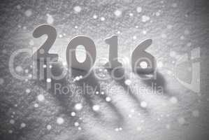 White Christmas Word 2016 On Snow, Snowflakes